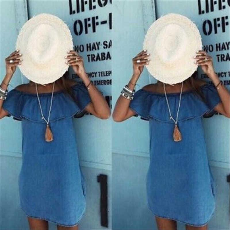 Vestidos de mulheres Novo Vestido de Verão de Moda Fora Do Ombro Folha de Lótus Azul Denim Mini Vestidos de Algodão Estilo Cowboy Vestido de Festa À Noite