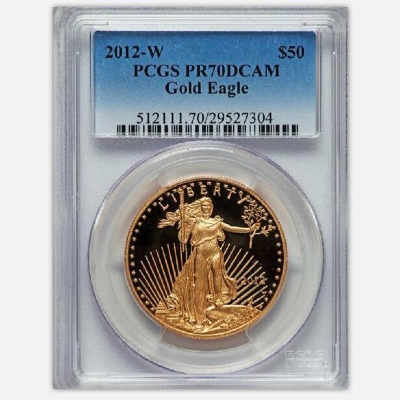 2012 de tungstène pièces plaqué 1.5 gramme. 999 or fin Américain aigle médaille classé PF70 1 oz dans origanl titulaire ou cas