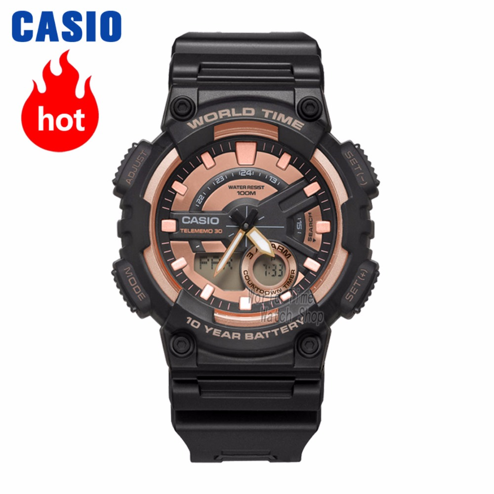 Casio watch Analogue Men's quartz sports watch fashion pointer double display waterproof and shockproof watch AEQ 110W-in Quartz Watches from Watches