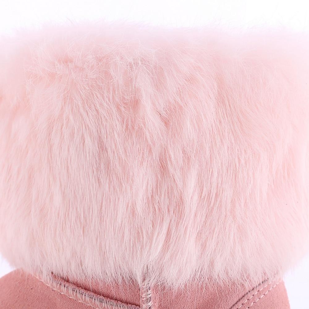 Fleur Bout Neige Courtes Bottes Plat Véritable Cristal Grande Lapins En Épaisse Taille Chaud rose Cuir D'hiver Femmes Noir Rond Fourrure Pleine q6wvUAIPA