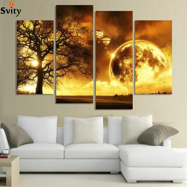 4 Panel Ancient Tree Printed Universe Space Paintings Canvas Picture  Cuadros Earth Landscape Painting For Living