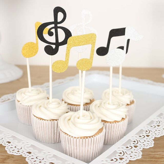 6 Pcslot Musical Note Cupcake Toppers Birthday Cake Topper Gold