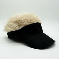 Hot Sale Novelty Baseball Cap Fake Flair Hair Sun Visor Hats Men Women Toupee Wig Funny