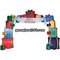Klassische aufblasbare Weihnachtsbogen mit Weihnachtsmann und Schneemann Schleifen von Seite