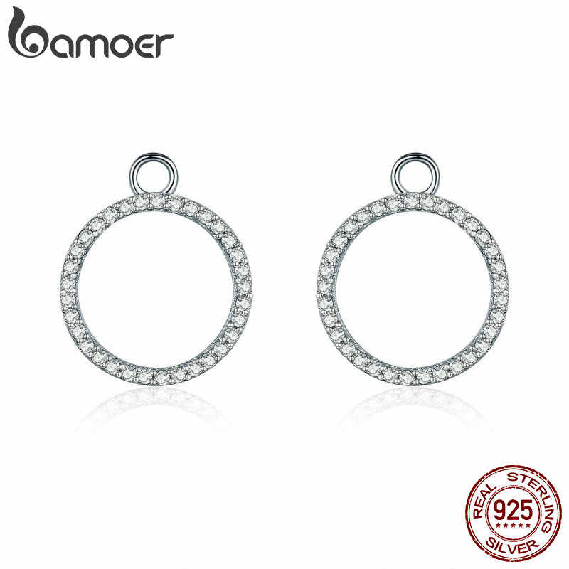 BAMOER 100% 925 Sterling Silver Sparkling CZ Round Circle Geometric Earrings Jackets for Women Sterling Silver Jewelry SCE353-1X