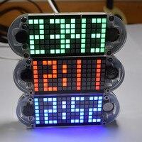Cnikesin diy ساعة رقمية led ساحة شعرية جناح إنتاج ساعة الساعات المكتبية عالية الدقة صوت ضبط الوقت 3 ألوان