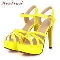Meotina venda quente da moda verão mulheres sandálias de verão gladiador saltos partido plataforma finos sapatos de salto alto entalhe fêmea sapatos amarelos