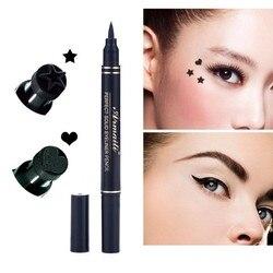Hot Women's 2 in1 Eyeliner Makeup Trendy Black Waterproof Liquid Eyeliner Pencil maquillaje Star Heart Shape Dot Stamp Tattoo