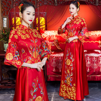 Chinese Traditional Qipao Royal Women High Quality Wedding Cheongsam Suit Suzhou Embroidery Oriental Bride Dress Marriage Gift