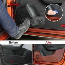 Tonlinker Cover sticker For Skoda KAROQ 2018 Car Styling 4 PCS Leather/Polyester door anti-dirty Decoration