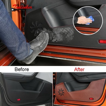 Tonlinker Cover sticker For Skoda KAROQ 2018 Car Styling 4 PCS Leather/Polyester Car door anti-dirty Decoration Cover sticker фото