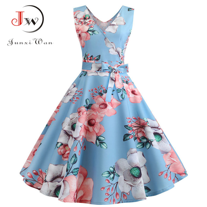 2019 Vintage Summer Dress For Women Robe Femme 50s 60s Retro Big Swing Casual V-neck Bowknots Knee-Length Party Dresses Vestidos