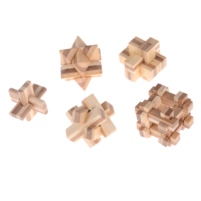 Kong Ming Luban Lock Kids Children 3D Handmade Wooden Toy Adult Intellectual Brain Tease Game Puzzle 3