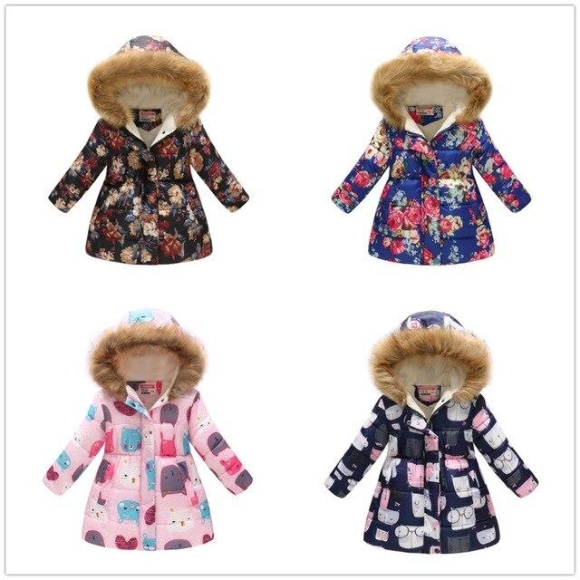 Bebê Meninas Jaquetas Crianças Casaco de Lã Roupas Casaco Com Capuz Floral Jovem Outerwear Menina Crianças Blusão Vestido Tops