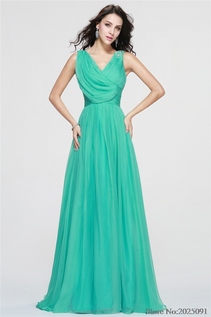 New V Neck Green Long Chiffon Bridesmaid Dresses 2017 Party Gown ...