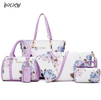 2017 New 6 Sets Tote Package Embossing Pu Leather Womens Messenger Shoulder Pack Composite Bag Ladies