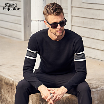 Enjeolon marka zima o neck dziergany sweter swetry człowiek moda gruby sweter casual swetry 3XL MY3221