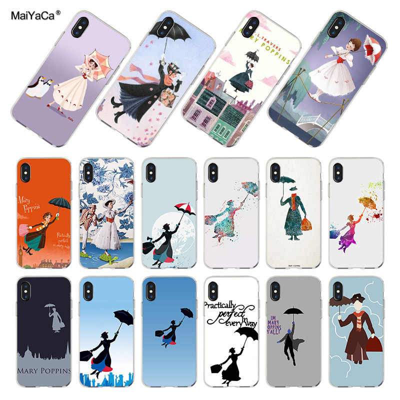 MaiYaCa Mary Poppins โปร่งใส tpu สำหรับ iPhone X XR XS MAX 6 6s 7 7plus 8 8Plus 5 5S 11promax coque