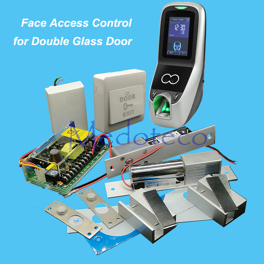 Face Access Control System Kit Double Glass Door Access Control Set+Fingerprint Reader+Eletric Bolt Lock Two Door Access Control raykube glass door access control kit electric bolt lock touch metal rfid reader access control keypad frameless glass door