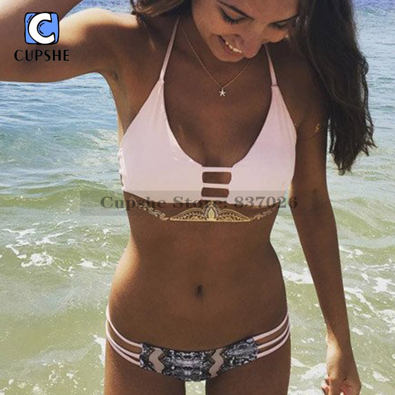 CUPSHE Pink Detail It All Thong Bikini Set Women Summer Sexy Halter Swimsuit 2018 Cutout Ladies Beach Bathing Suit swimwear