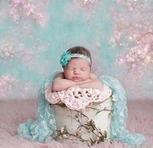Фон для фотосъемки новорожденных детей с цифровой печатью розовые цветы бирюзовый зеленый цветочный фон для фотостудии