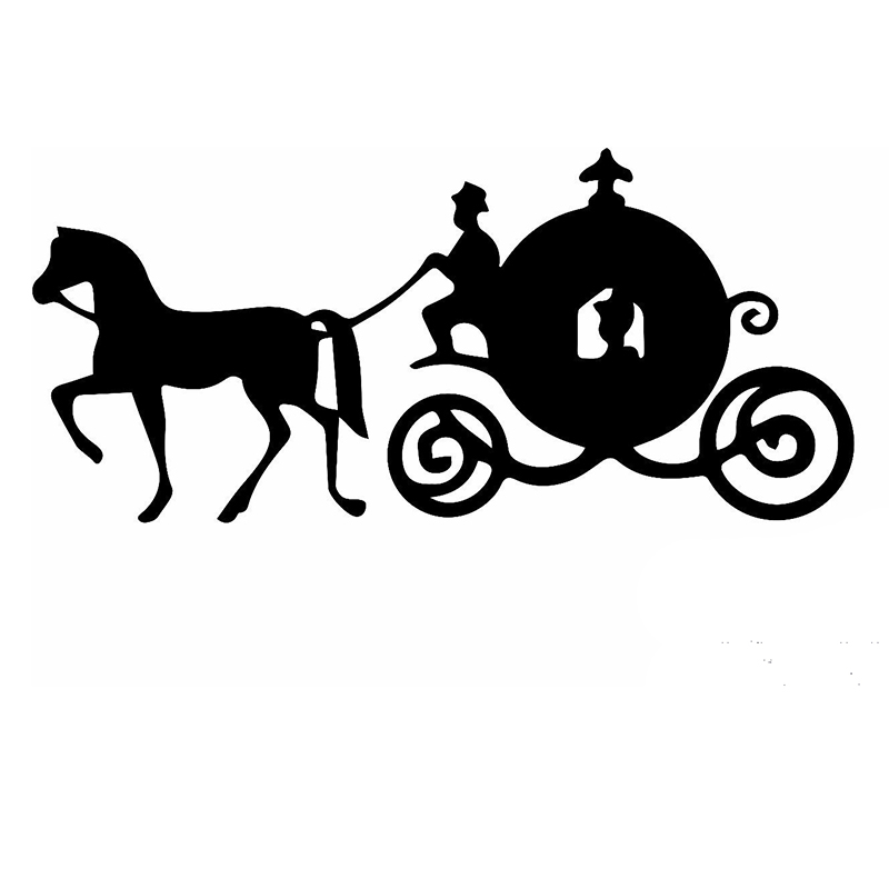 Cinderella Fairy Tale Beauty Sitting Pretty Carriage Car Sticker for Bumper Motorcycles Canoe Car Styling Vinyl Decal 10 Colors