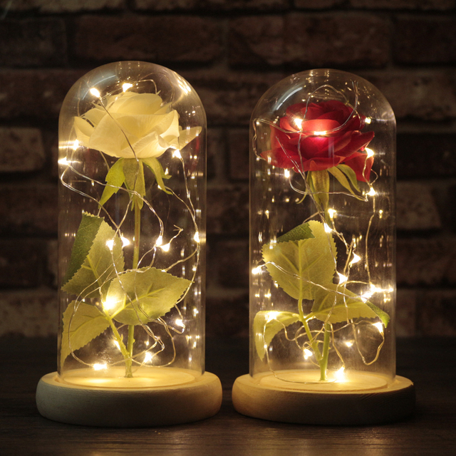 Moobesid The Little Prince Red Rose In Gl Dome On Wooden Base With Led Light Wedding