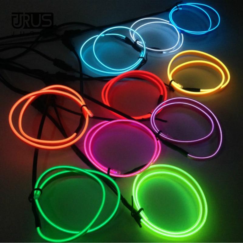 JURUS 3Meter Fleksibel Neon El Wire Billys Interiør Glød 12V Led - Billygter - Foto 2