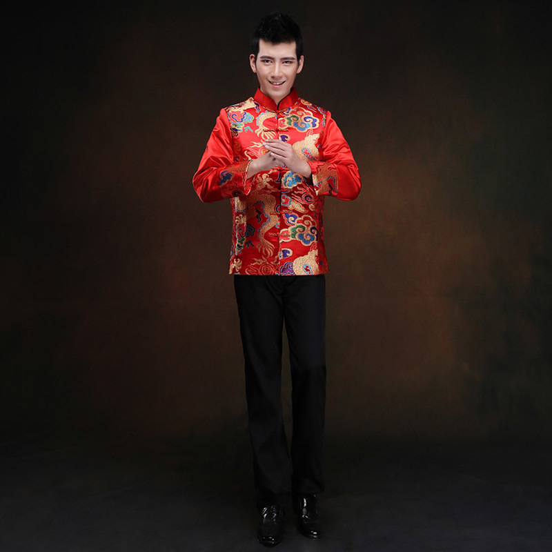 Red Long sleeve Groom Toast Clothing for Men cheongsam qipao top Costume Improved Male Wedding Chinese Traditional Gown Dress
