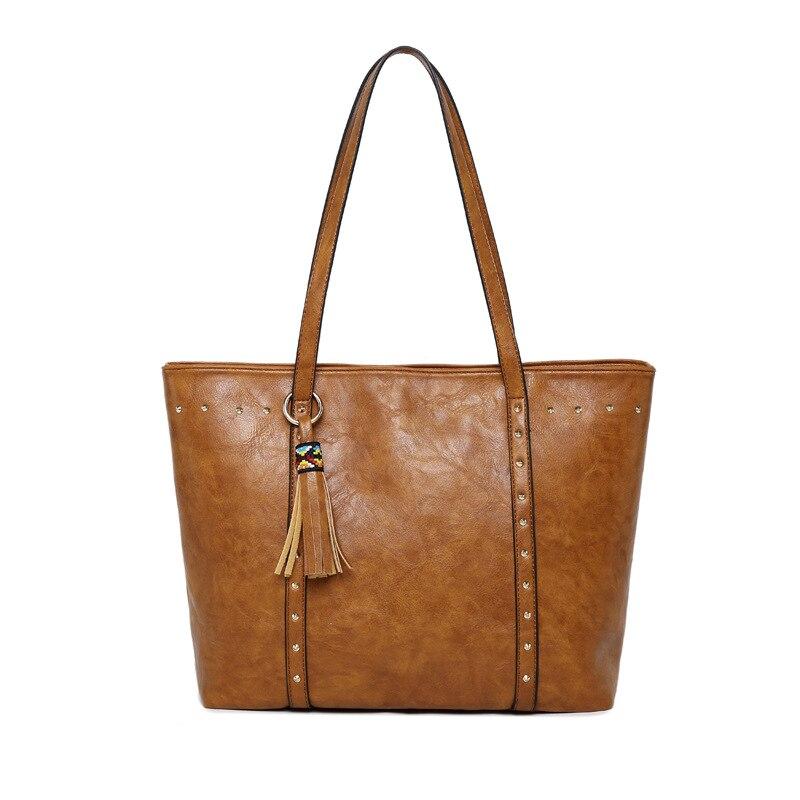 Oil Wax Leather Women Shoulder Bag Large Capacity Women tote Famous Brand Designer Ladies Handbag rivet Crossbody bags 3N3144