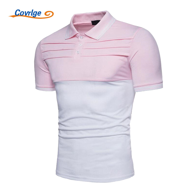 Covrlge Men Polo Shirt 2018 Plus Size Men's Short Sleeve Polos Summer Fashion Patchwork Jersey Brand Clothes Casual Tops MTP052