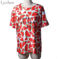 New Arrival Summer Casual Women T-shirt Short Sleeve Cute Fruit Watermelon Print Loose Tee Top