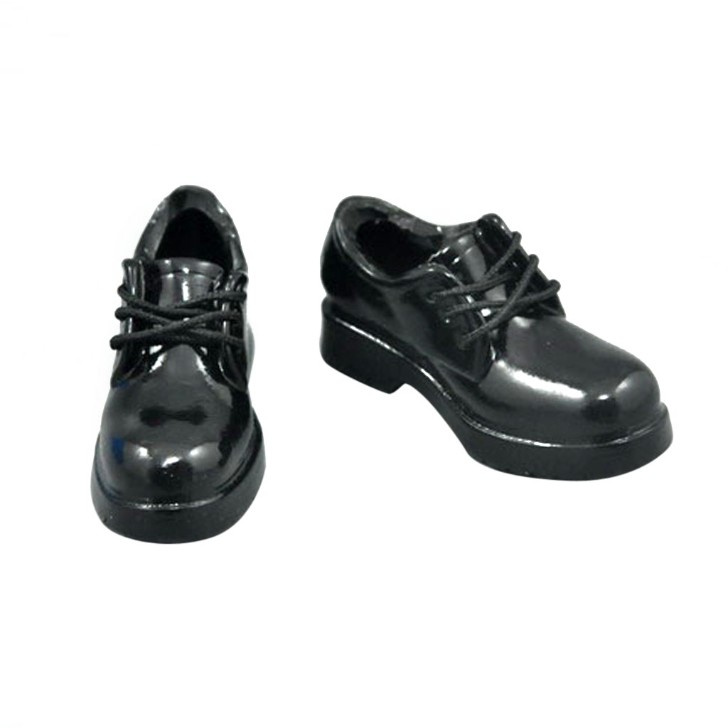 Action-Figure-Shoes Female for Schoolgirl Cute Gloss Simulated Black 12'' 1/6