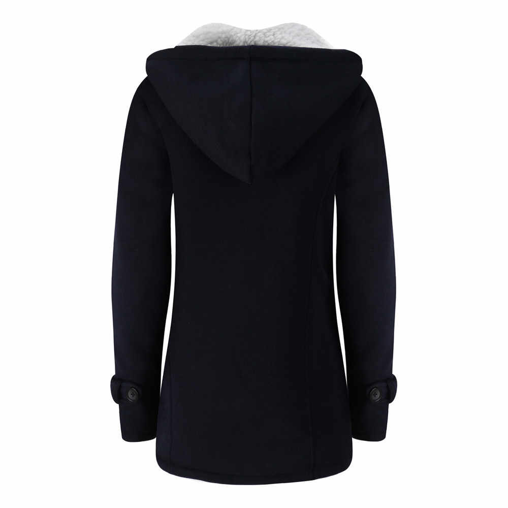 Telotuny Warm Windbreaker Wool Slim Long Coat Jacket Trench autumn jacket women Hooded Cotton female coat JL 25