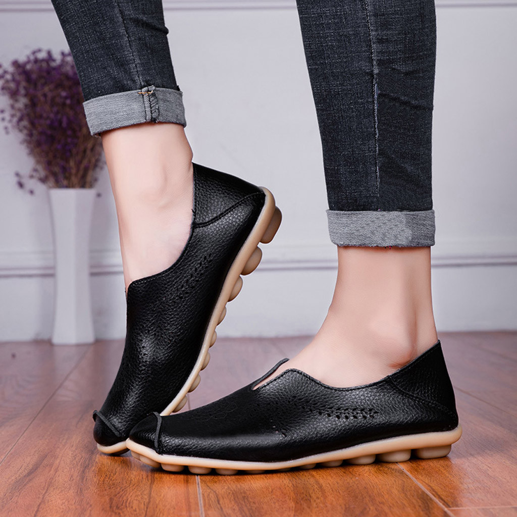 Leisure Women Round Toe Hollow Slip-On Shoes Flat Single Shoes Peas Boat Shoes Shoes Woman Zapatos De Mujer Sapato Feminino 3