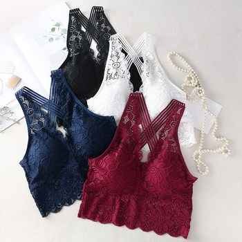 Sexy Floral Bras For Women Lace Bralette Backless Wireless Crop Top Fashion Female Padded Underwear Lingerie Camisoles