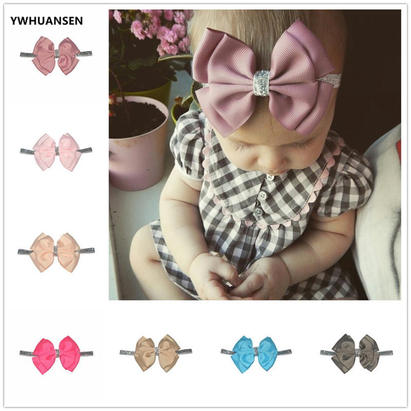 YWHUANSEN 30 Color New Baby Hair Bow Flower Headband Silver Ribbon Hair Band Handmade DIY Hair Accessories For Children Newborn