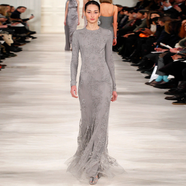 2015 Runway Fashion Grey Lace Long Sleeve Modest Evening Dresses Arabic Style Evening Gown Special Occasion