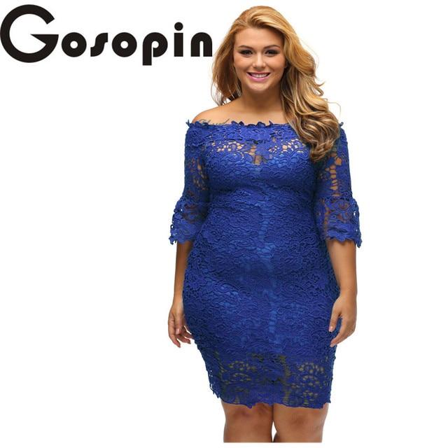 741895f04c8 Gosopin Off Shoulder Party Dress Women Work Wear Royal Blue Hollow Out  Floral Lace Plus Elegant Dress Vestido de Renda LC61415