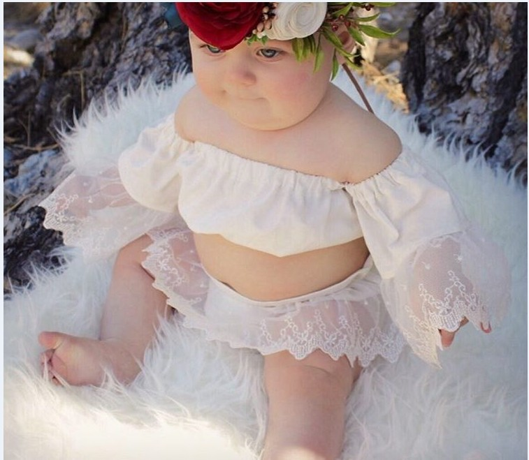 Baby Tales Boutique Store Ins Summer New Baby Girls Bohemia Lace Chiffon Newborn Baby Girls Clothing Set Strapless Top T-shirt Lace Skirt Short Pants 0-2Y