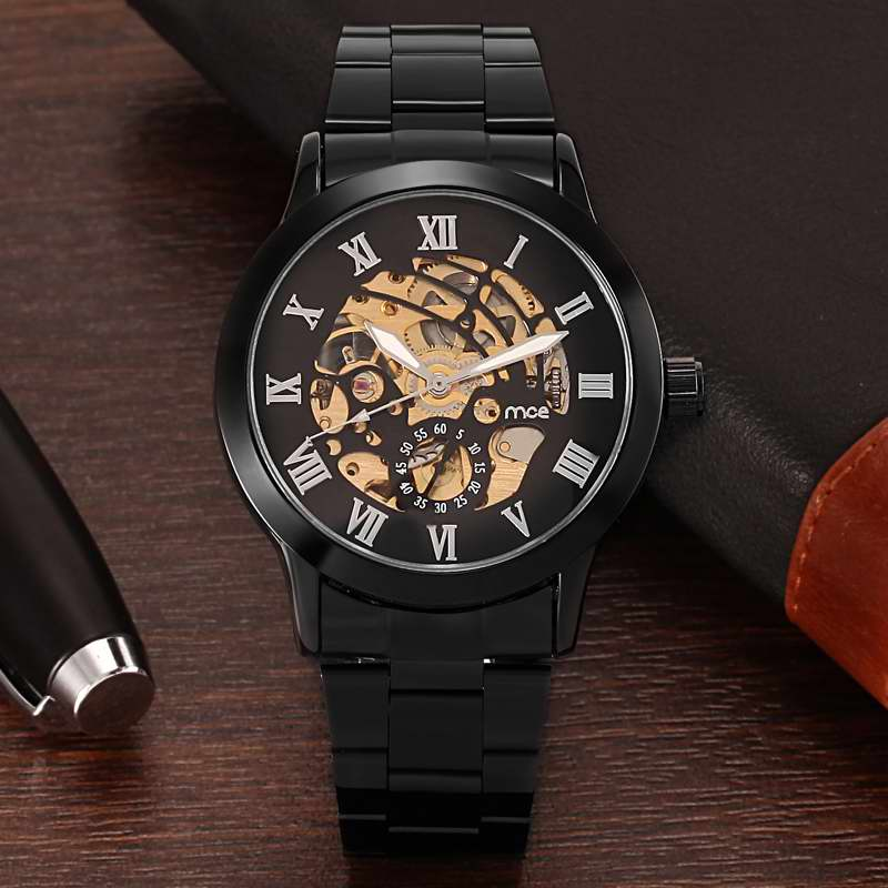 Gun Black MCE Mens Watches Top Brand Luxury Gold Skeleton Automatic Mechanical Watch Guaranteed 12 month,Fashion&Stainless Clock mce luxury fashion gold watch women high quality skeleton mechanical watch full stainless steel water resistant wrist watches