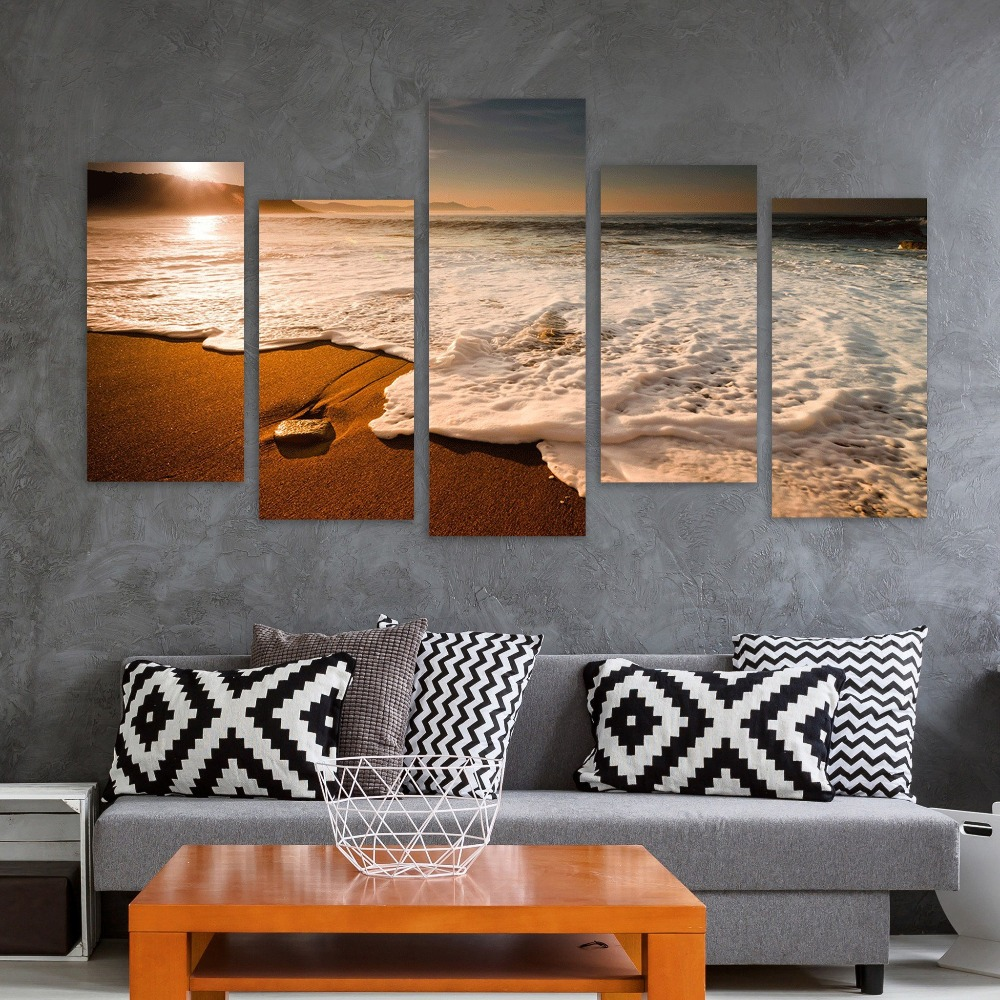 Canvas Painting Modern Home Decor Room Wall Art 5 Pieces Beach Sunrise Sea Wave Seascape Modular Pictures HD Prints Poster Frame