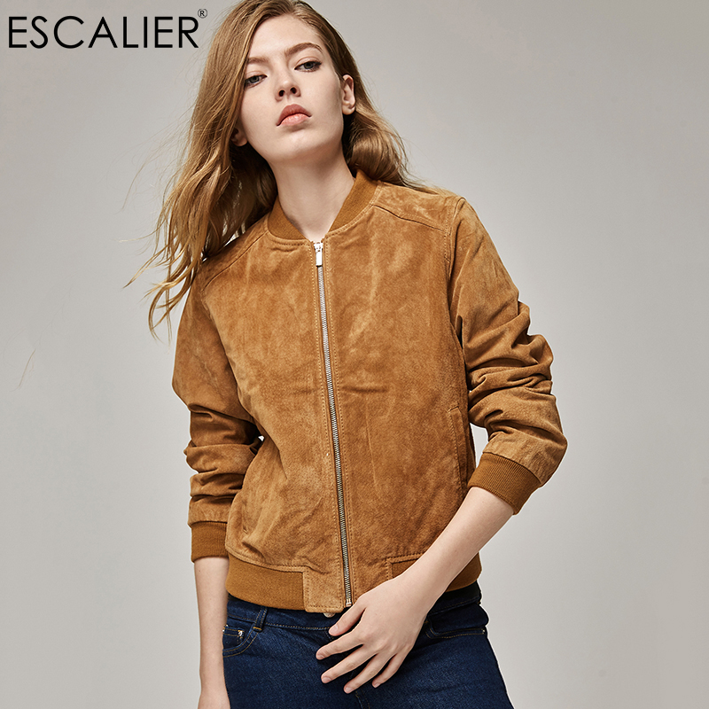 ESCALIEA Fashion Womens Pigskin Jacket Baseball Leather Jacket Locomotive Style Casual Genuine Leather Coat ...