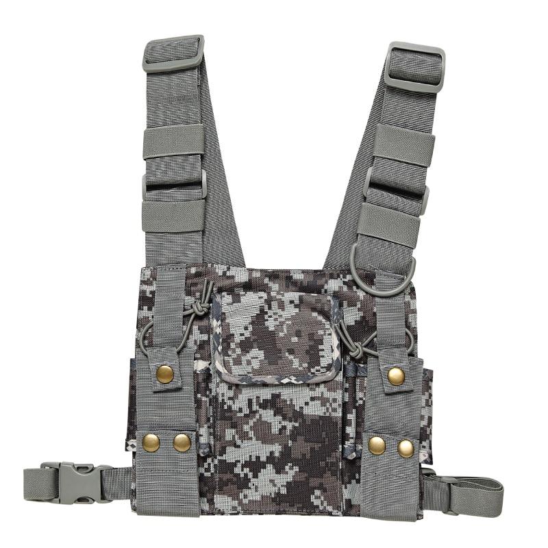 Harnais chest Rig Sac Poche Pack Holster Gilet pour Talkie Walkie Baofeng UV-5R UV-82 Deux Way Radio Sauvetage Essentials Camouflage