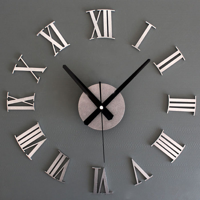 2016 wall clock DIY Home decoration Wall watch decorative 3D Digital Watch Roman numerals