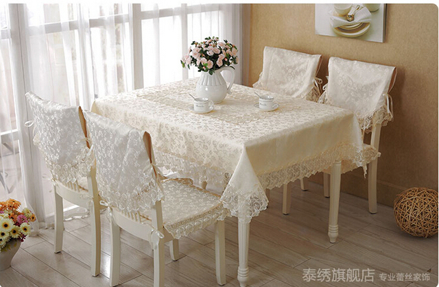 Charmant Embroidery Cream Colored Table Cloth Banner High Grade Lace Desk Chair  Cover Chair Cushion