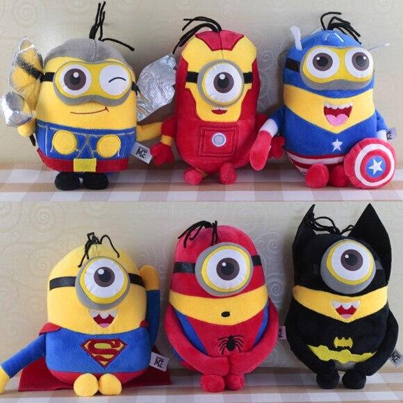 20cm Minions Cosplay The Avengers Captain America Batman SpiderMan Thor Superman Iron Man Stuffed Plush Doll