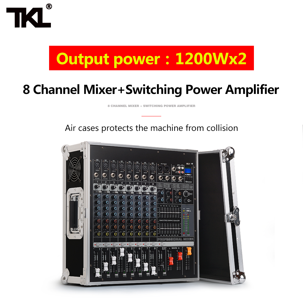 TKL PH2400 8 1200W Power Amplifier DJ Mixer Support USB Bluetooth Song Playing Professional Stage Performance