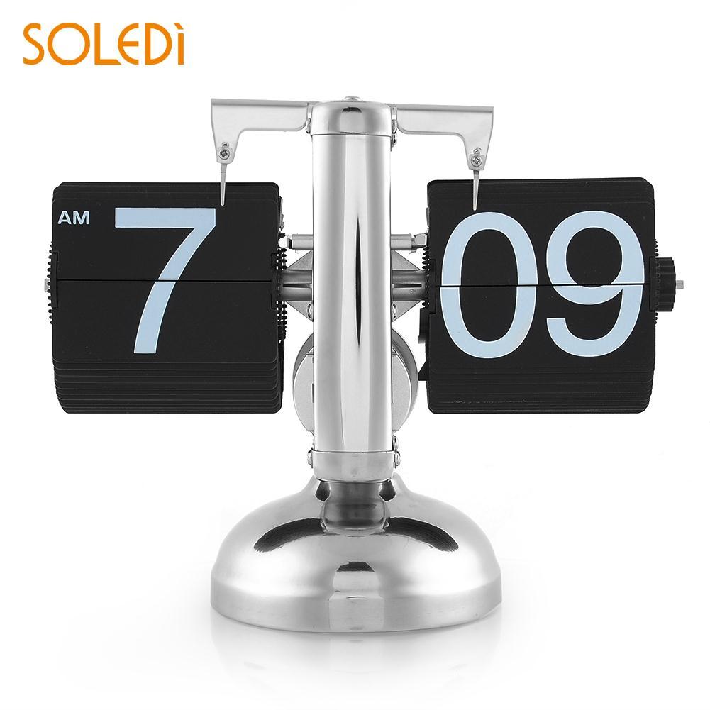 SOLEDI rétro numérique Auto Flip horloge vers le bas en métal simple support Table 12 heures flip horloge électronique bureau horloge masa saati saat klok