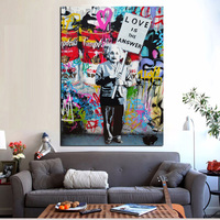Big Size Print Banksy Graffiti Love Is The Answer Canvas Painting Holding A Sign Poster Pop